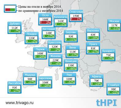 Стоимость проживания в гостиницах Европы упала на 11%