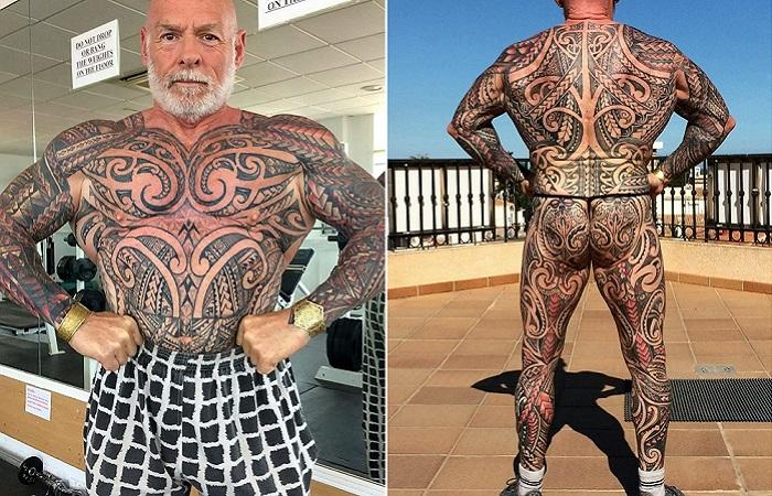 59-летний бодибилдер покрыл все свое тело татуировками, чтобы выглядеть моложе