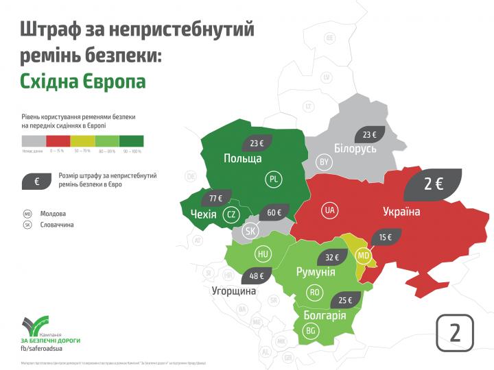 Как штрафуют за непристегнутый ремень безопасности в Европе (инфографика)