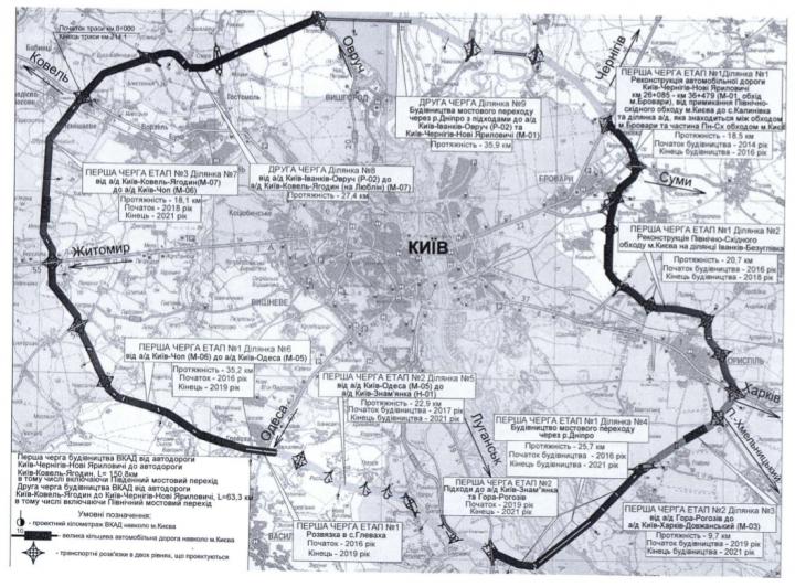 Какой будет Большая кольцевая в Киеве (карта)