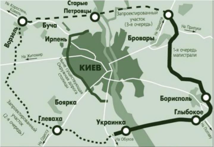 «Укравтодор» обнародовал план большой объездной дороги вокруг Киева (инфографика)