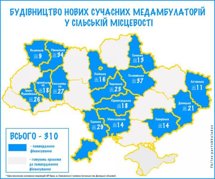 В Украине построят 310 сельских амбулаторий за 5 млрд грн (инфографика)