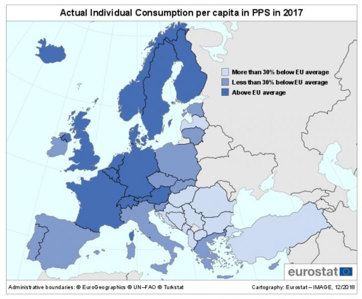 Евростат назвал самые богатые и самые бедные страны ЕС (инфографика)