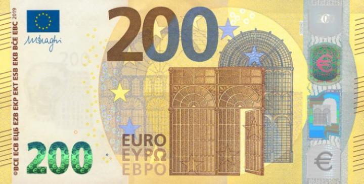 В странах еврозоны вводятся в обращение новые купюры номиналом 100 и 200 евро (фото)