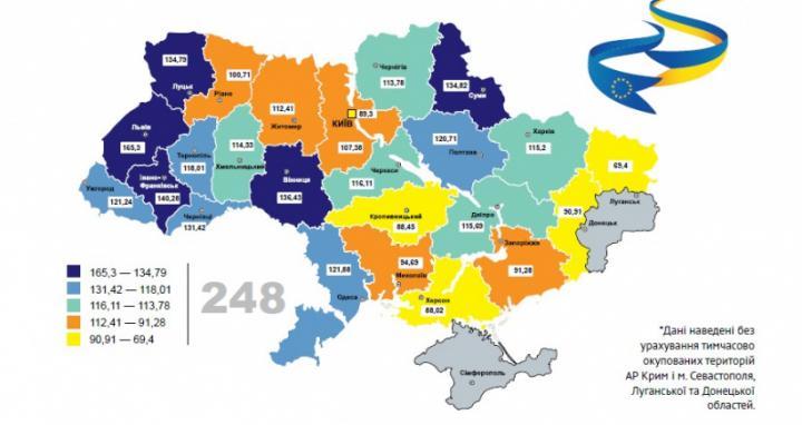 Названы регионы-лидеры Украины по евроинтеграции (инфографика)
