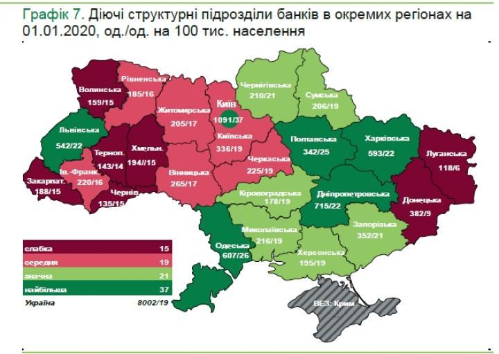 Национальный банк обнародовал карту с количеством банковских отделений по областям (инфографика)