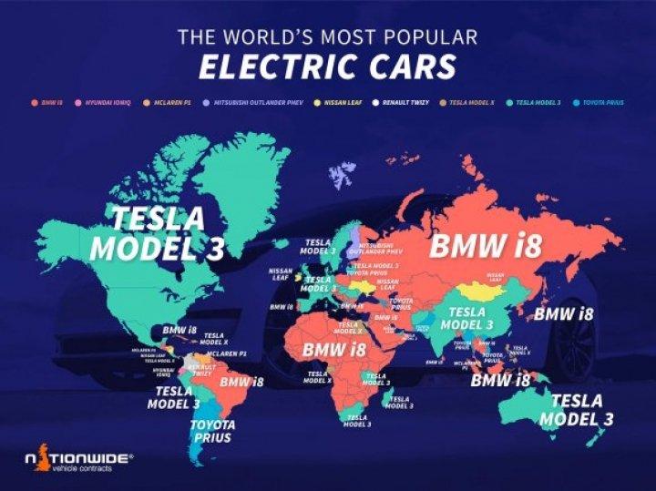 Tesla Model 3 названа бестселлером среди электрокаров в 19 странах мира